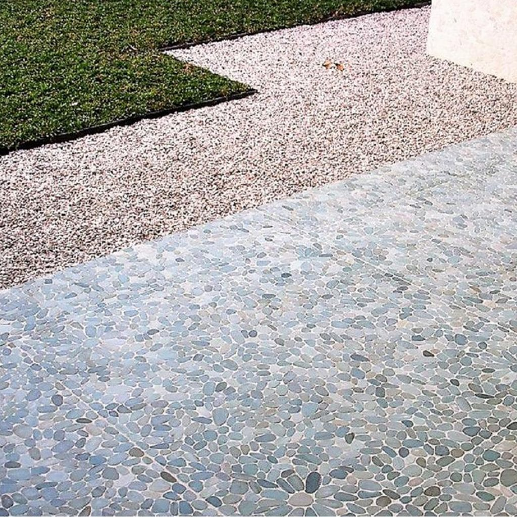 Grey pebble tile flooring