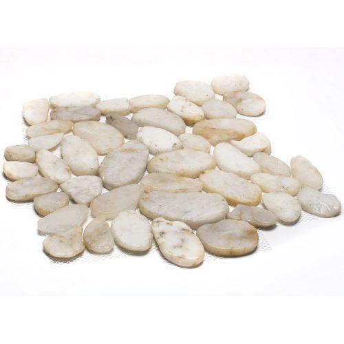 White Sliced Pebble Tile