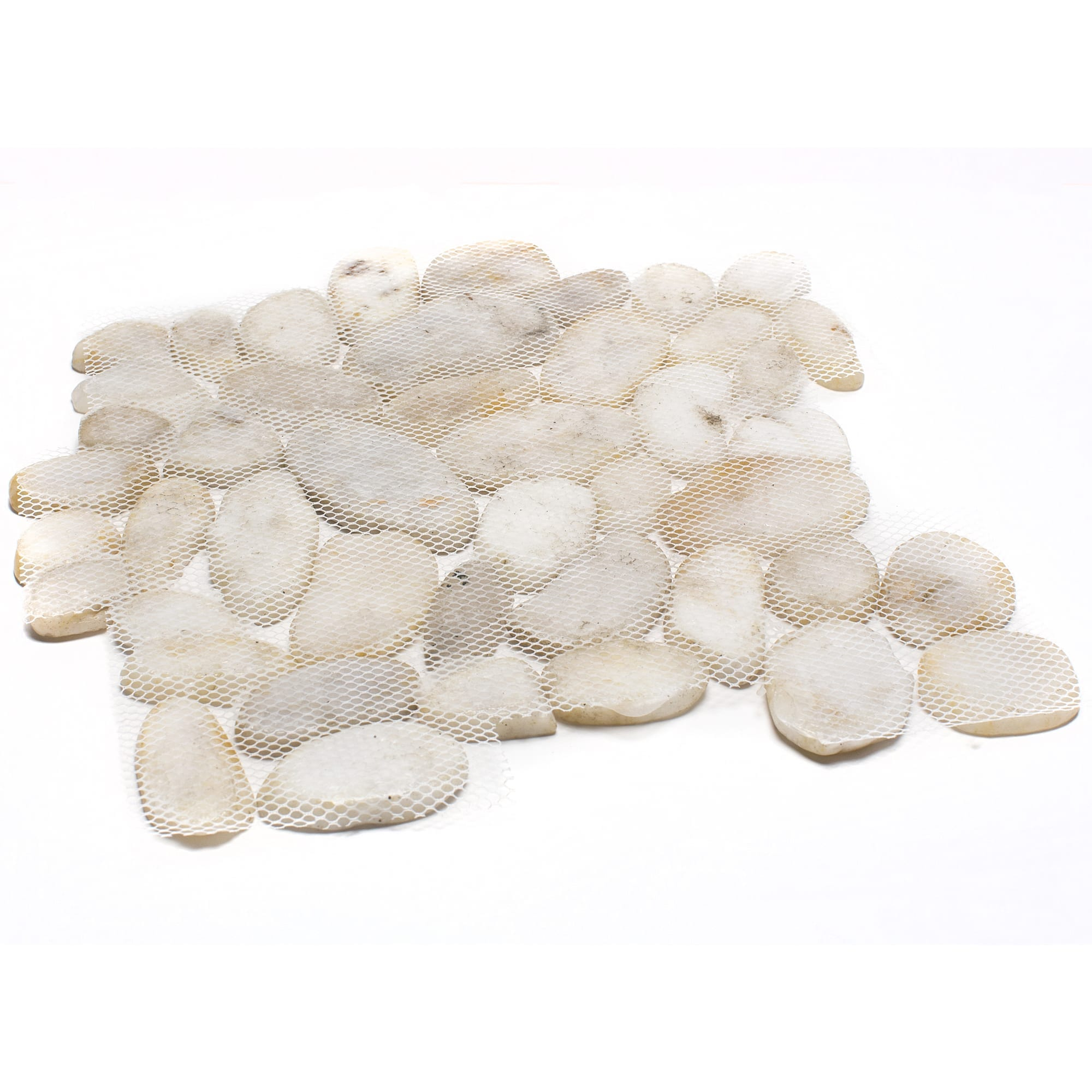 White Sliced Pebble Tile