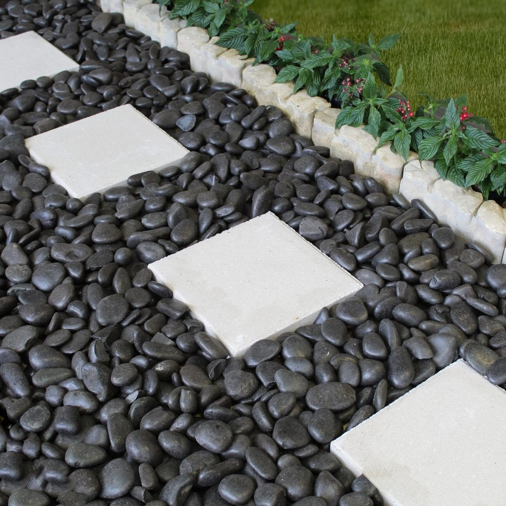Black pebbles used to make a pathway