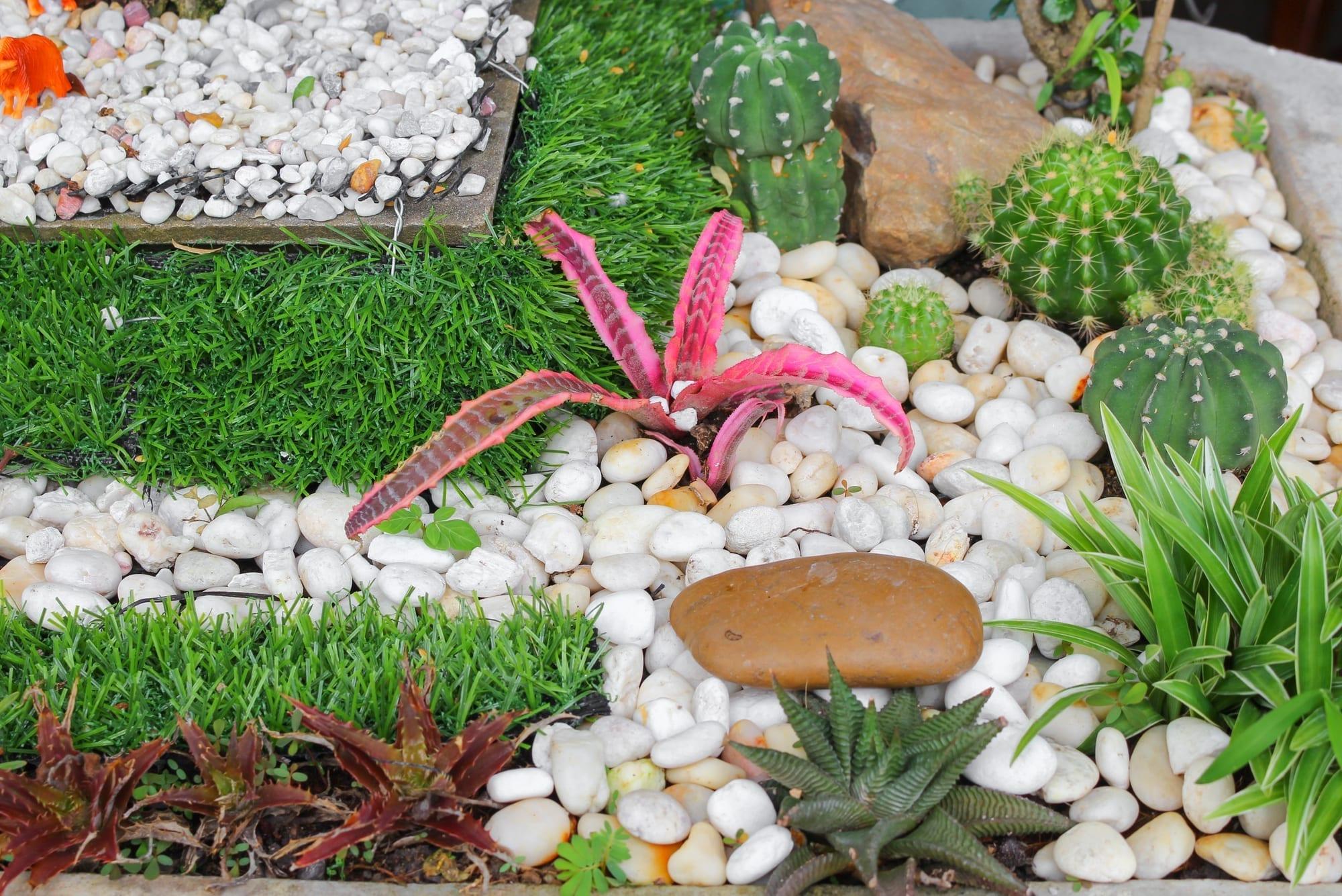 Pebble design in a garden