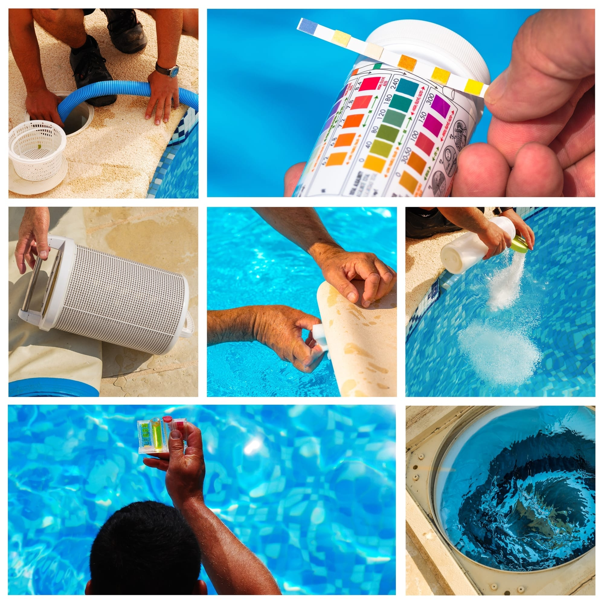 Collage of steps to clean a pool