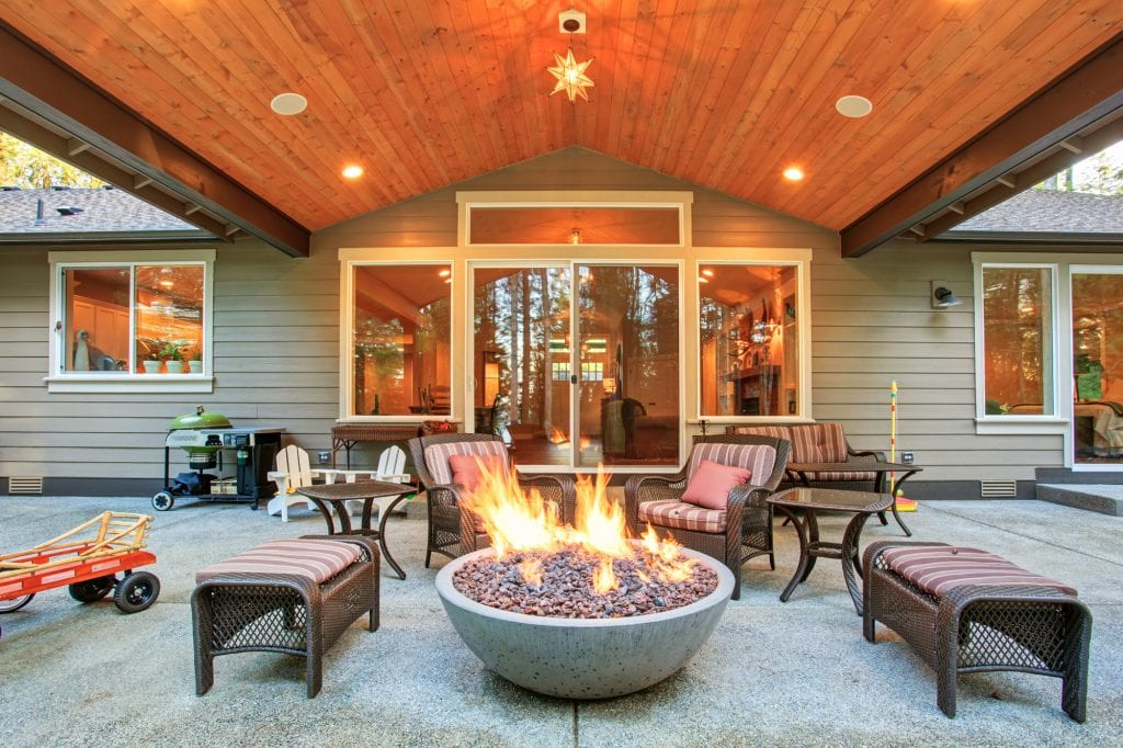 Gas powered fire pit set up outdoors