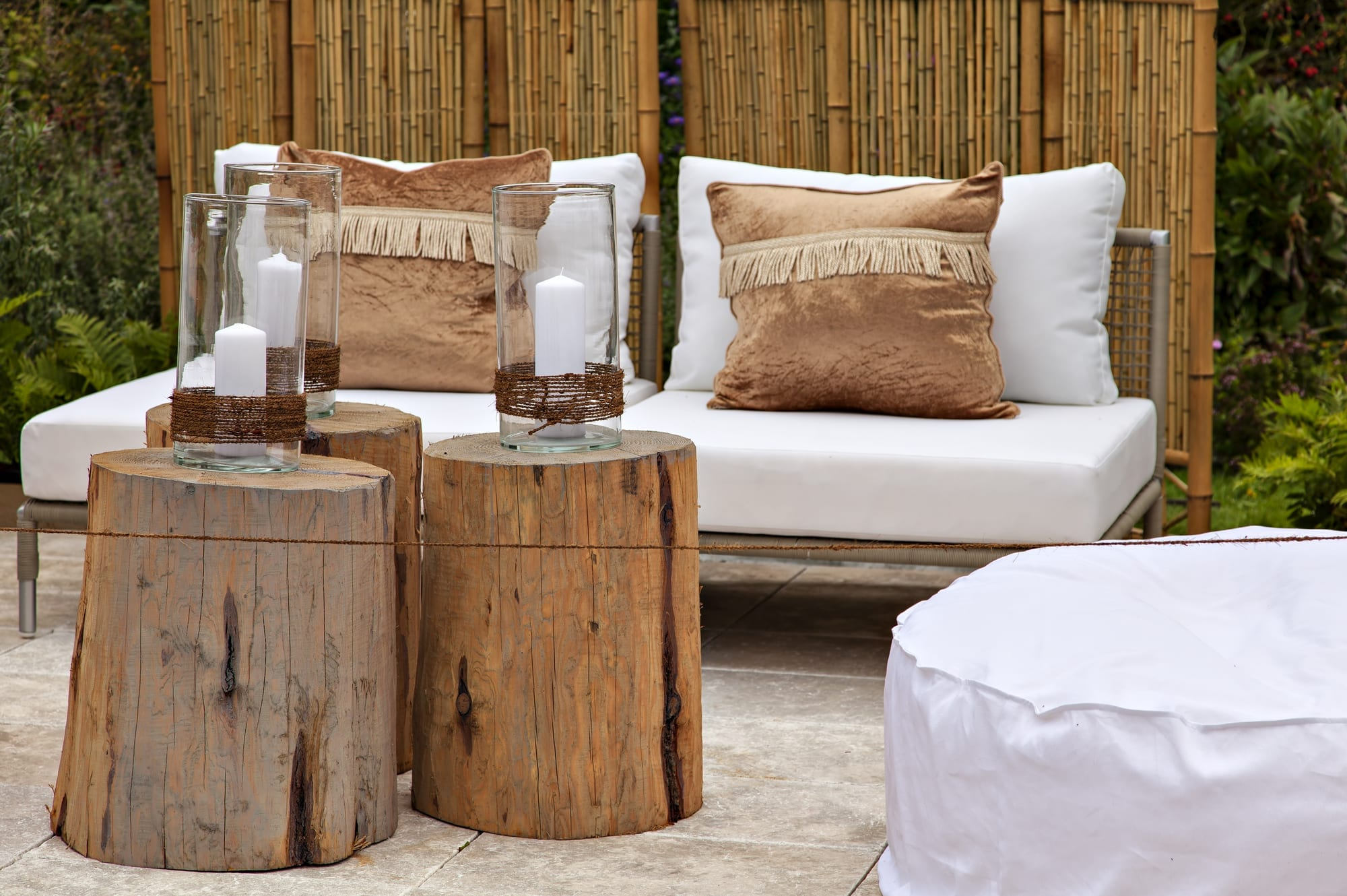 Stylish sitting area with tree stumps