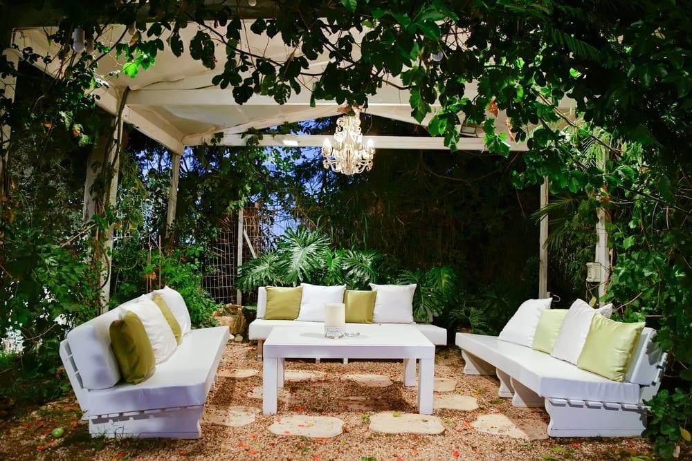 Romantic outdoor sitting area