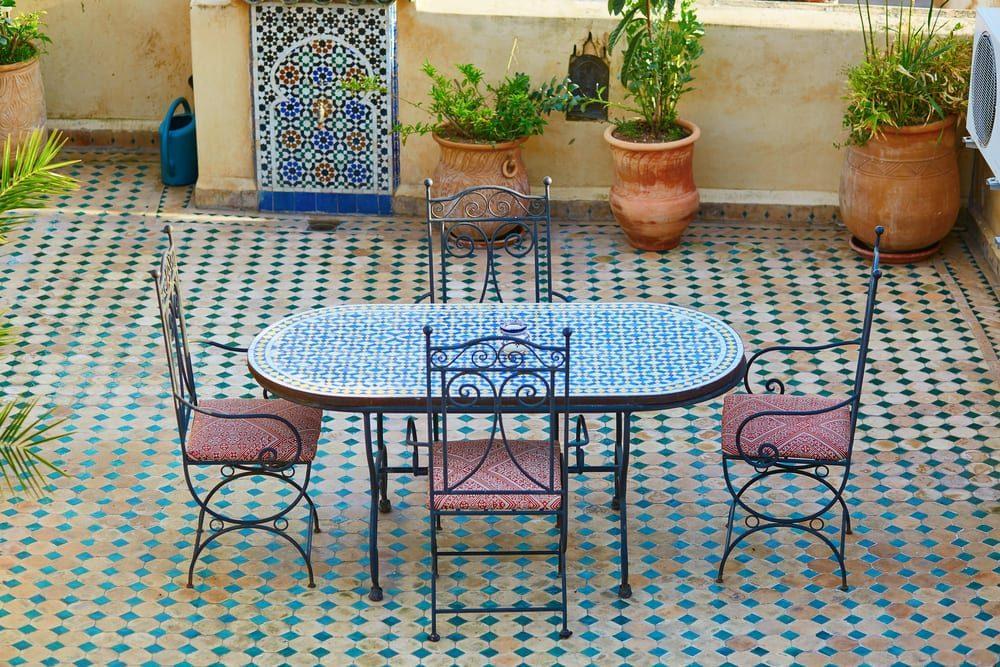 Tiled patio floor