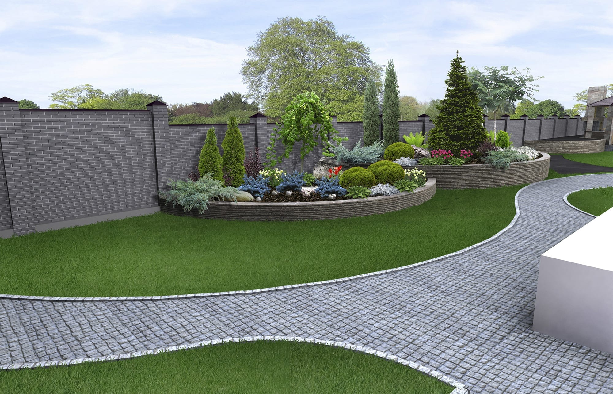 Brick edging on a lawn